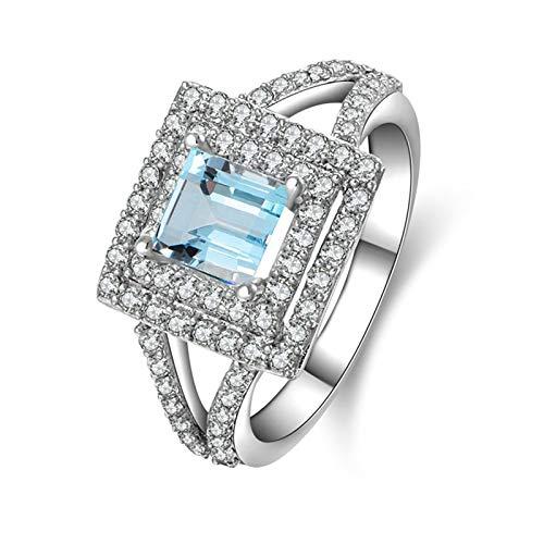 Coniea Ring Sterling Silber 925 Breit Prinzessin Schnitt 5,5X5,5 Mm Blautopas Prinzessin Schnitt Siegelringe mit Gravur Größe 54 (17.2) Ringe Silber (Weiß Gold Prinzessin Schnitt Ring Set)
