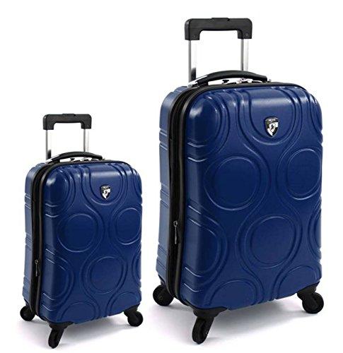 Kofferset, Gepäckset, Reisegepäck by Heys - Premium Designer Hartschalen Kofferset 2 TLG. - Core Eco Orbis Blau Handgepäck + Koffer mit 4 Rollen Gross