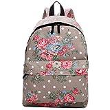 Butterfly Flower Polka Dot Retro Fashion Backpack Rucksack (Floral Grey)