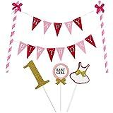 """KUNGYO""""Happy Birthday"""" Decorazione della Torta di Compleanno- Mini Bandiera  Rosa e 1 214e3801aafb"""
