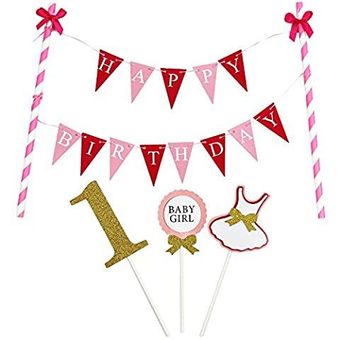 KUNGYO Mini Happy Birthday Cake Bunting Banner Cake Topper Garland - Handmade Pennant Flags 1ST First Baby Girl Birthday Party Cake Decoration Supplies