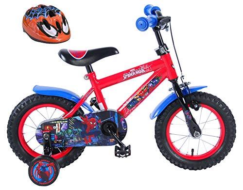 Ultimate Spider-Man Kinderfahrrad 12 Zoll mit Rücktrittbremse + Fahrradhelm Spider-Man 51-55 cm im Sparset