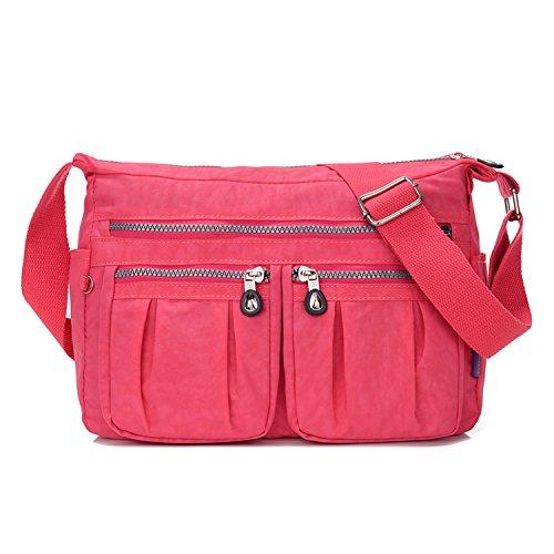 MeCooler Umhängetasche Damen Kuriertasche Leichter Messenger Bag Wasserdicht Taschen Designer Schultertasche Mode Sporttasche für Reisetasche Rot 1