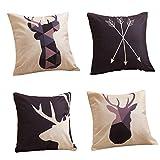 HOMMY Dekorative Dekokissen Covers 18x18 Zoll Platz Baumwolle Leinen Kissen für Sofa Schlafzimmer Car Pack von 4 - Geometrie