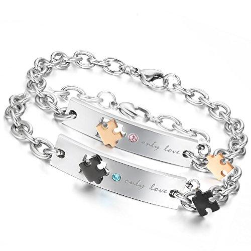 *Flongo 2 PCS Only Love Edelstahl Armband Link Handgelenk Silber Schwarz Rose Gold Puzzle Rätsel Panzerkette Kette Herren,Damen*