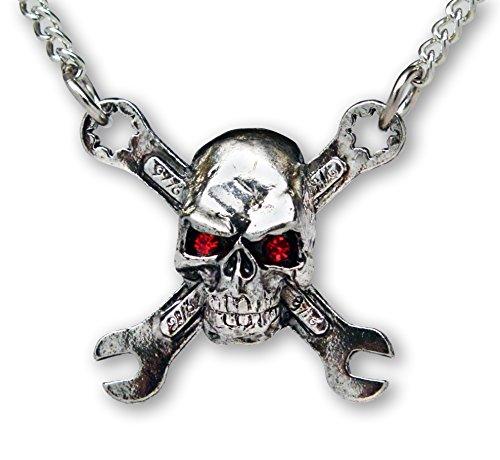 Motor Head Rat Rod Totenkopf Auf Gekreuzte Schlüssel Anhänger Halskette