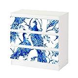Set Möbelaufkleber für Ikea Kommode MALM 3 Fächer/Schubladen Pfau Vogel blau abstrakte Kunst Blumen Muster Aufkleber Möbelfolie sticker (Ohne Möbel) Folie 25C1386, Kommode 3 Fächer:Kommode 3 Fächer