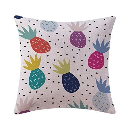 Cupcinu STILVOLL Watercolor Kissen Cover Home Ananas Muster Design Kissen Fall werfen Kissen Bezug Dekoration Sofa Home quadratisch Baumwolle Leinen, Baumwoll-Leinen, 4, 45*45CM (Werfen Kissen Ananas)