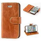 Mulbess Handyhülle für iPhone 4s Hülle, iPhone 4 Hülle, Leder Flip Case Schutzhülle für iPhone 4s Tasche, Cognac Braun