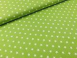 Baumwollstoff Meterware Sterne maigrün weiß 100 %
