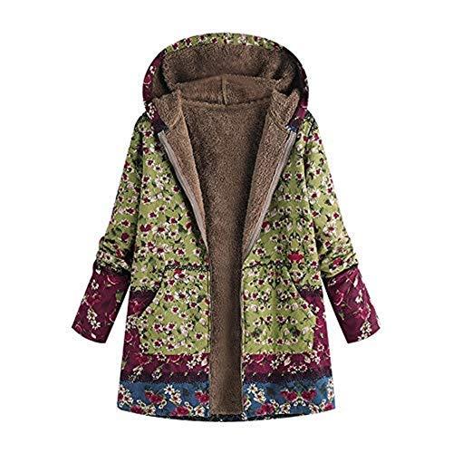 iHENGH Damen Winter Warm Dicker Outwear Parka Mantel Jacke Blumendruck mit Kapuze Taschen Vintage Oversize Coats (EU-46/CN-L, Grün) - Special Blend Outerwear