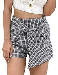 2742ab8ee1150 WanYangg Mujer Impresión De Cuadros Pantalones Cortos De Pierna Ancha  Suelto Casuales con Cinturón