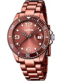 Calypso Armbanduhr Quarzuhr Kunststoffuhr mit Kunststoffband mit Faltschließeanalog K5646, Farbe:braun