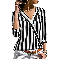 Lover-Beauty Camisa Mujer Raya Cuello Redondo Manga Larga Casual Suelto Blusa Rojo y Top Azul Jersey Stripe Shirt Otoño Verano Playa y Fiesta