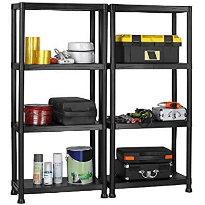 VonHaus Pack of Two 4 Tier Plastic Shelving Utility Unit Shed Garage Storage Freestanding Shelves System - 200Kg Capacity - 25Kg Per Shelf - Ideal Office, Garden, Studio, Workshop - 132 x 122 x 30.5cm - Wall Braces - cheap UK light shop.