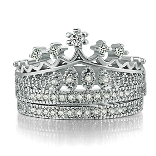 Bishilin Vergoldet Ring Frauen Weiß Zirkonia Krone Solitärring Verlobungsring Hochzeitsring Silber Ring Ringgröße 54 (17.2)