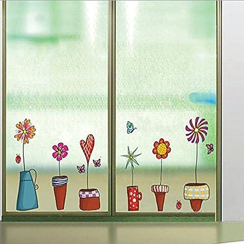 Sticker mural Pots de fleurs Petites plantes de jardin Papillons papier Maison Autocollant mural amovible en vinyle fenêtre Décoration Salon Chambre à coucher en PVC étanche pour adultes ados enfants Chambre d'enfant bébé + Autocollant de voiture Grenouille