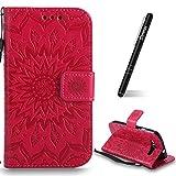 SchutzHülle für Galaxy S3 Rot,Slynmax Mandala Blume Hülle Wallet Case HandyHülle für Galaxy S3 I9300 Tasche Klapphülle Flip Cover Ledertasche Brieftasche Lederhülle Handytasche,Flower of Paradise)