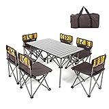 QIANGDA Camping Pliante Table avec 6 Chaises Petit Espace Cadre De Tuyau De Fer Alliage D'aluminium Fort Porteur pour 6 Personnes- Plié: 65cm X 34cm X 34cm