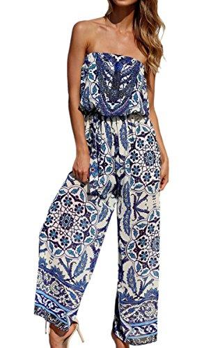 ECOWISH Damen Sexy Sommer Strand Schulterfrei Blumendruck Overall Trägerlos Jumpsuit Elegant Lang Blau S