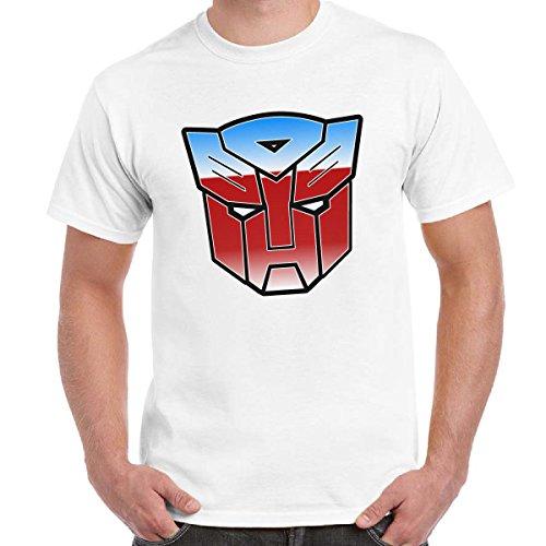 T-Shirt Divertente Uomo Maglietta Stampa Cartoni Anni 80 Transformers Autobot Imperdibili, Colore: Bianco, Taglia: L