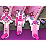 Gisela Graham Fairy Unicorn Horse and Castle Wooden Peg Hook Set of 3