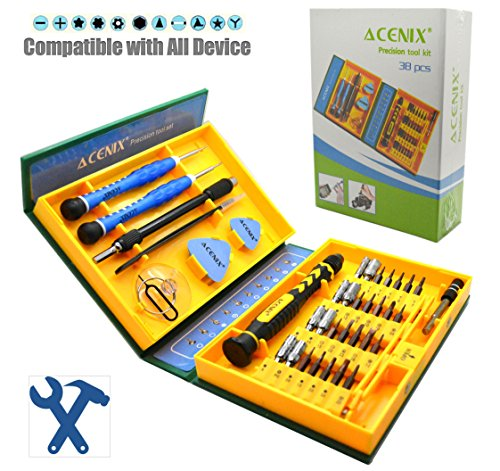 ACENIX Universal Reparaturset [S2 Legierung Stahl Material] 38 in 1 Präzisions-Schraubendreher-Set – Repair Tools Kit iPhone Laptop Smartphone MacBook Xbox Uhren mit Brillenetui