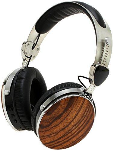 Symphonized Wraith 2.0 Bluetooth Auriculares inalámbricos, de Madera auténtica sobre la Oreja con 3,5mm de Cable Incluido para Uso con Cable (Madera de Zebrano)