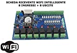 CMG SOLUTIONS RICEVENTE 8 CANALI I/O WiFi DOMOTICA Timer LUCI Caldaia Web Android/iOS