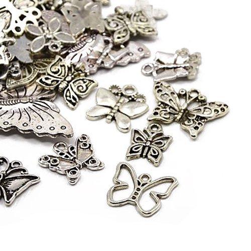 30 grams argento antico tibetano miscelacasuale ciondoli (farfalla) - (ha06700) - charming beads