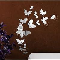 Extsud® Adesivo Murales Carta da Parete Farfalle, Wall Stickers a Specchio, Decorazione da Muro per Casa Hotel Salotto Camera da Letto Camerette da Bambini (Argento)