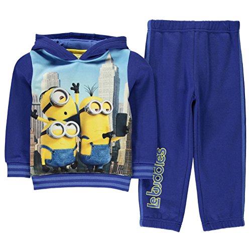 Character Bambino Ragazzo Minions Set 2 Pezzi Jogging Felpa Con Cappuccio Pantaloni Minions 4-5 Yrs