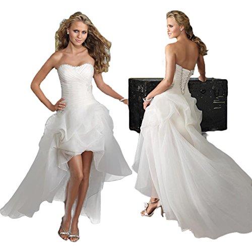 WeWind Damen Süßes Hochzeitskleid Trägerlos Organza Brautkleid Schleppe Kurz (S) -