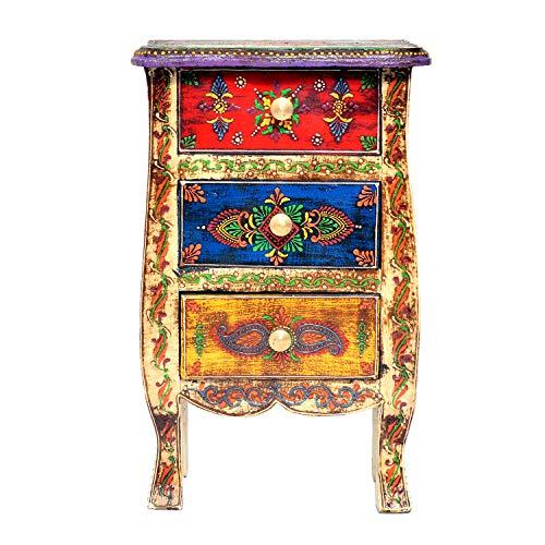 Jaipur Crafrafts Hub Multicolore en Bois Massif avec 3 tiroirs avec Porte-étiquette en métal