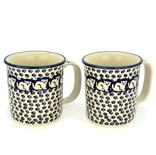 Bunzlauer Keramik Becher gerade, 220 ml, 2er Set (Dekor Garfield) -