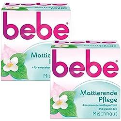 bebe Mattierende Pflege/Sanfte Gesichtscreme mit grünem Tee für Mischhaut/2 x 50ml