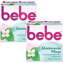 bebe Mattierende Pflege / Sanfte Gesichtscreme mit grünem Tee für Mischhaut / 2 x 50ml