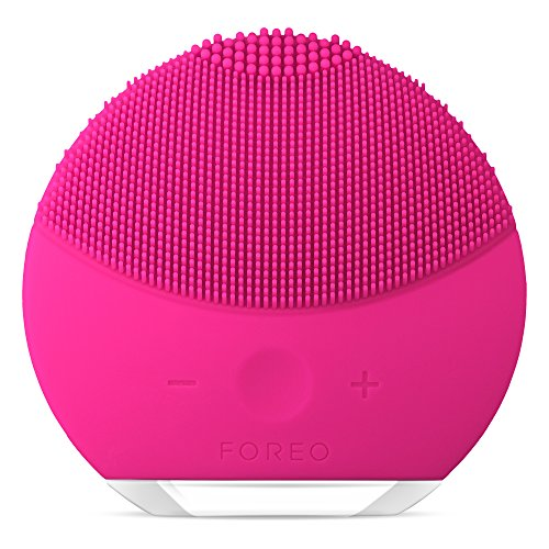 FOREO LUNA mini 2 Facial Cleansing Brush and Anti-aging Skin Care device made with Soft Silicone for Every Skin Type Fuchsia, USB Rechargeable