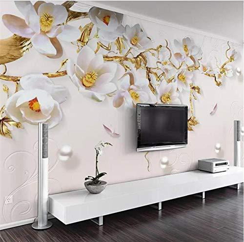 Hwhz Moderner Minimalistischer Modeschmuck Geprägte Dreidimensionale Tulpenwohnzimmer-Wandgewohnheit Große Grüne Wandtapete-280X200Cm