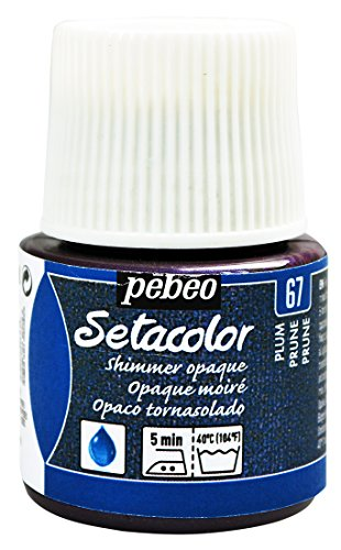 Pebeo Setacolor Textilfarbe, deckend, 45 ml, schimmernd, Milliliter, schimmernd, Pflaume Plum (Pflaume Schimmernde)