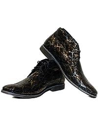 Modello Sleeko - 40 EU - Cuero Italiano Hecho A Mano Hombre Piel Verde Zapatos Vestir Oxfords - Piel de Cabra Cuero Repujado - Encaje