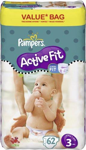 Pampers - 81337153 - Active Fit Couches - Taille 3 - Midi 4-9 Kg - Format économique x 62