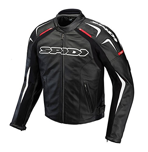Preisvergleich Produktbild Motorbike Motorcycle Spidi IT Track Wind Leather Jacket Racing Sports Touring MX EN Certified Armour Jacket -Black / White-Special Order - Black - UK 48