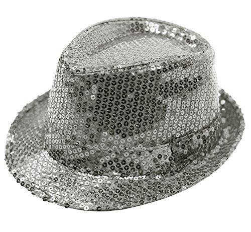 8ec7e14b4da FEDORA TRILBY GANGSTER SEQUIN HAT GLITTERY JAZ UNISEX CAP HIPHOP FANCY  DRESS (SILVER)