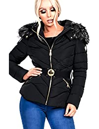 Ikrush Womens Sylvia Padded Faux Fur Hooded Belted Jacket