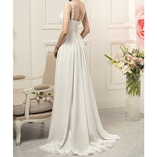 Aiyana Elegantes A-Linie V-Ausschnitt Spitze Abendkleid Chiffon Langes Brautkleid mit Perlen Elfenbein