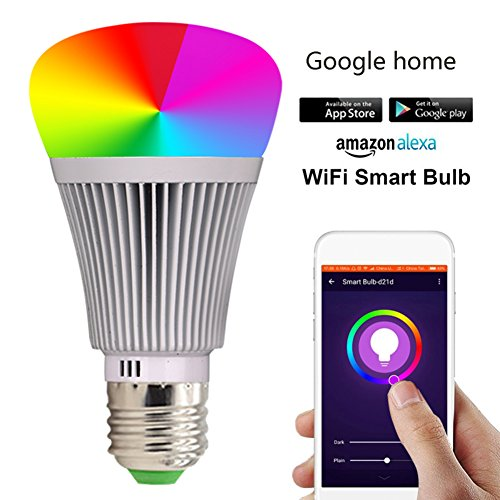 Molie Smart Lampe 7W RGB Glühbirne Led Wifi Lampen Dimmbar E27 Wlan Lampe mit Amazon Alexa,Google Home,Steuerbar via App
