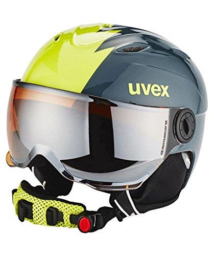 Uvex Kinder Visor Pro Skihelm, Titanium Lime, 52-54 cm