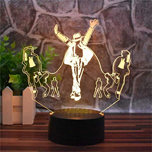Novelty lamp Musik Tänzer Michael Jackson Kreatives Nachtlicht 3D LED Home Office Dekoration Nachttischlampe Touch Fernbedienung 16 Farbe Acryl USB/Batterie Kreative Geschenke (Michael Jackson)