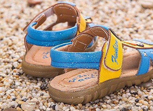 Ohmais Enfants Chaussure bebe garcon premier pas Chaussure premier pas bébé sandale en cuir souple bleu jaune
